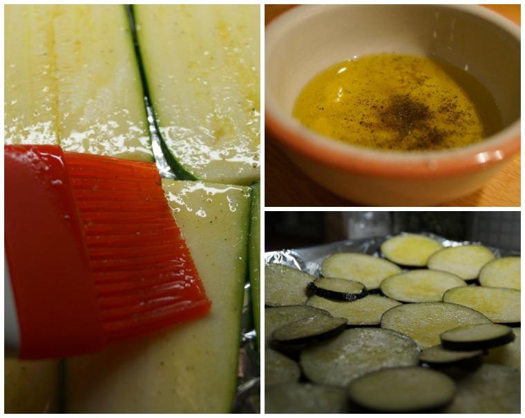 Sivele vihannesviipaleet öljy-mausteseoksella.