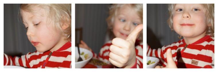 Mestarimaistaja Kalle hyväksyy tämänkin ruokalajin. Kaksi lautasellista meni niin, että hujahti!
